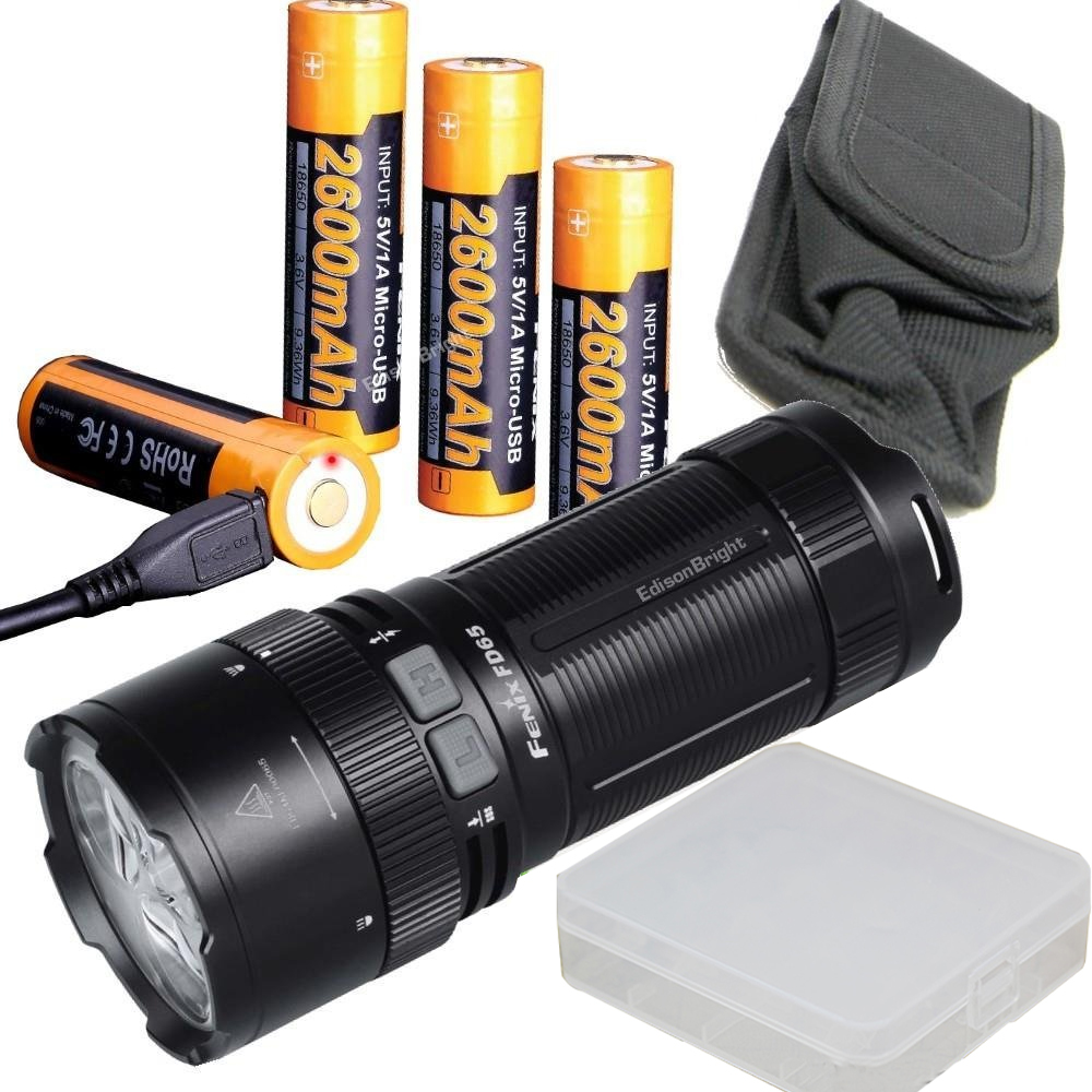 FENIX FD65 3800 Lumen CREE LED focus adjustable Flashlight/searchlight USB rechargeable battery kit with USB charging cable