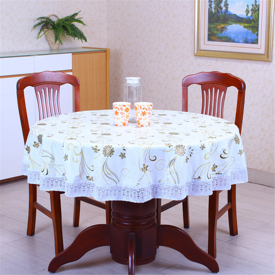 Pastoral PVC With Velvet Thick Round Waterproof Oilproof Tablecloth Decorative Lace Side Anti-hot Floral Plastic Table Cover