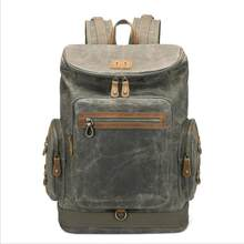 1fa5e72956b2 2018 New Student Retro Vintage Travel Canvas Backpack Rainproof Large  Capacity Oil Wax Canvas Schoolbag 15