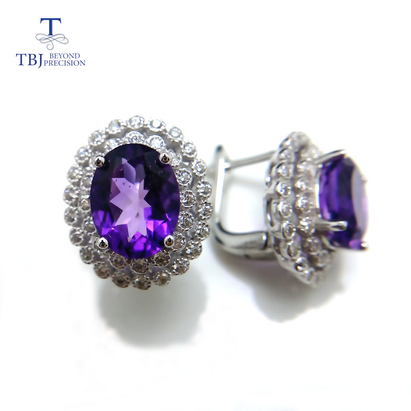 TBJ Classic diana clasp earrings with natural amethyst in 925 sterling silver earrings for women deep