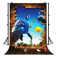 5x7ft 3D Dolphin Undersea World Fish Brick Wall Wooden Floor Polyester Photo Background Portrait Backdrop
