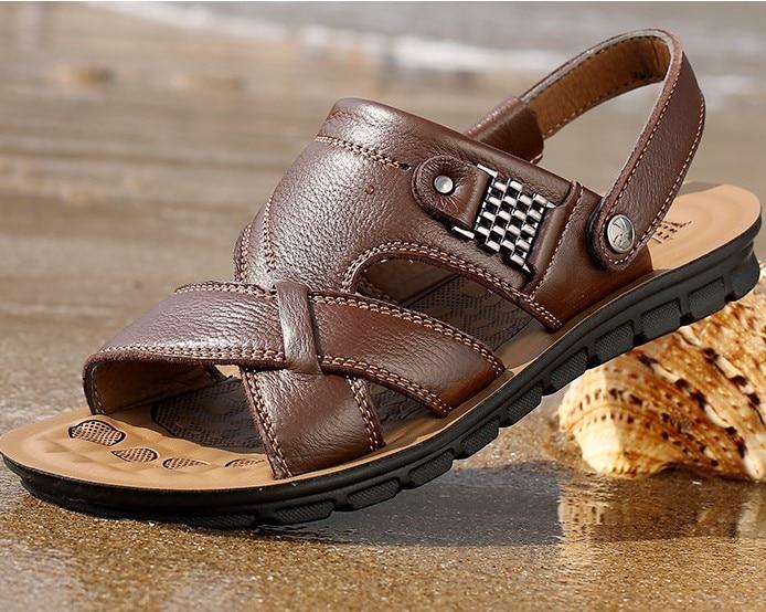 Men s Sandals Genuine Leather Mens sandals slippers Flats summer men shoes casual suede sandals