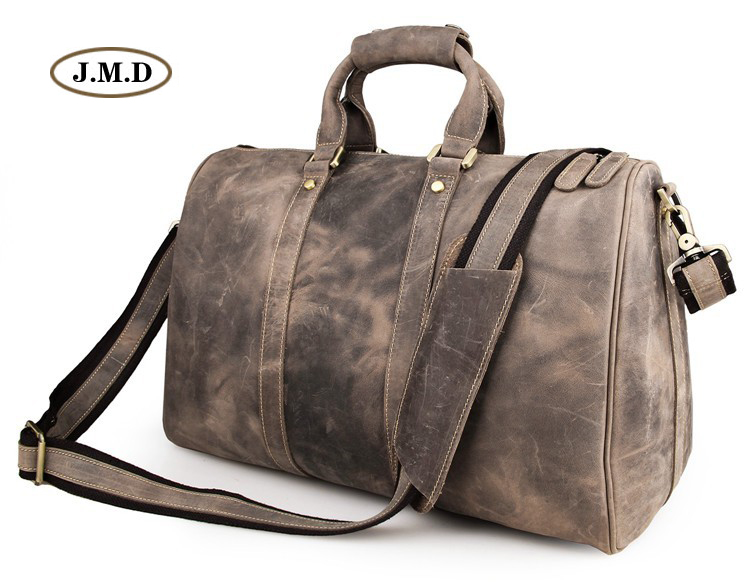 J.M.D New Style Hot Selling Genuine Excellent Vintage Leather Unisex Fashion Grey Briefcase Laptop Bag Travel Duffle Bag 7077J new arrival 100% excellent genuine leather laptop backpacks 7202i 1