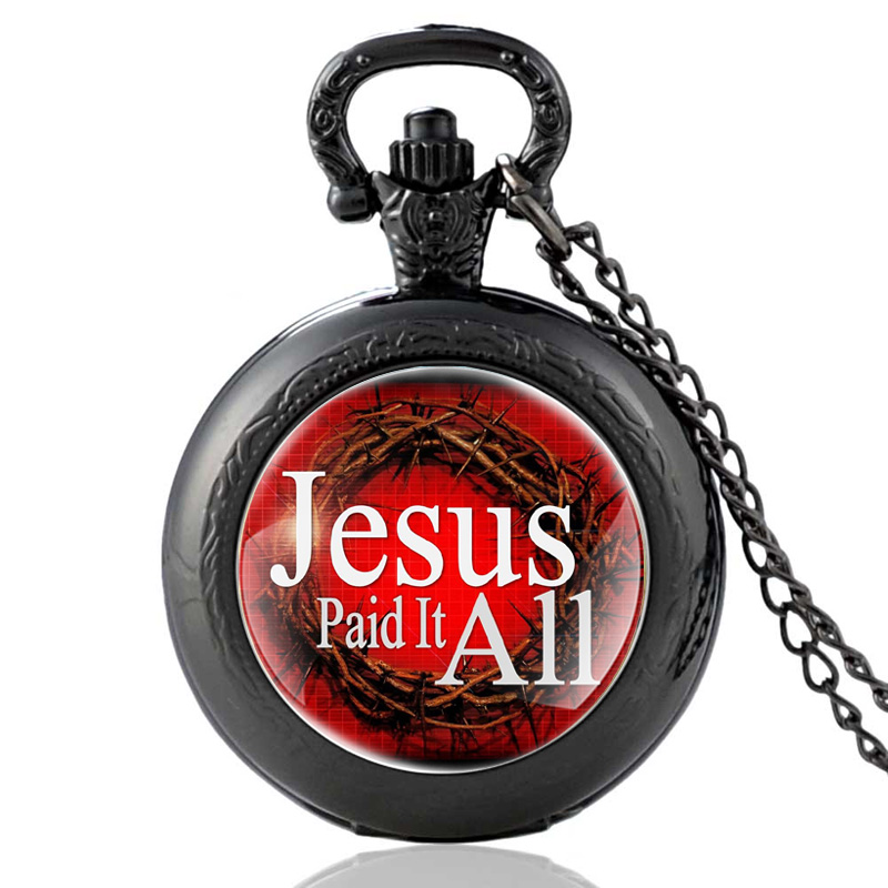 Fashion Black Jesus Paid It All Fashion Bible Verses Quartz Pocket Watch Classic Scripture Quote Jewelry Christian Faith Gifts