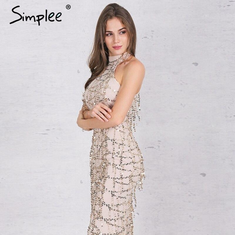 Simplee apparel elegante borla lentejuelas sirena maxi dress women dress del par
