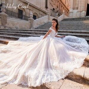 Image 3 - Ashley Carol Chữ A Áo Cưới 2020 Đầm Ren Công Chúa Lệch Vai Pha Lê Appliques Người Yêu Cô Dâu Đồ Bầu Đầm Vestido De Noiva