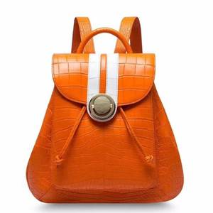Daily-Backpack-Bag Crocodile Women Orange Real with Cow-Skin-Lining Belly-Skin Purple