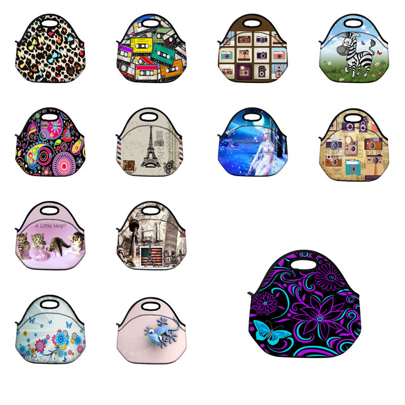 Fashion Neoprene Travel Picnic Food Insulated Lunch Bag Tote Cooler Bag Handbag For Women Kids Thermal Bag Lunchbox Bag Tote waterproof cartoon cute thermal lunch bags wome lnsulated cooler carry storage picnic bag pouch for student kids