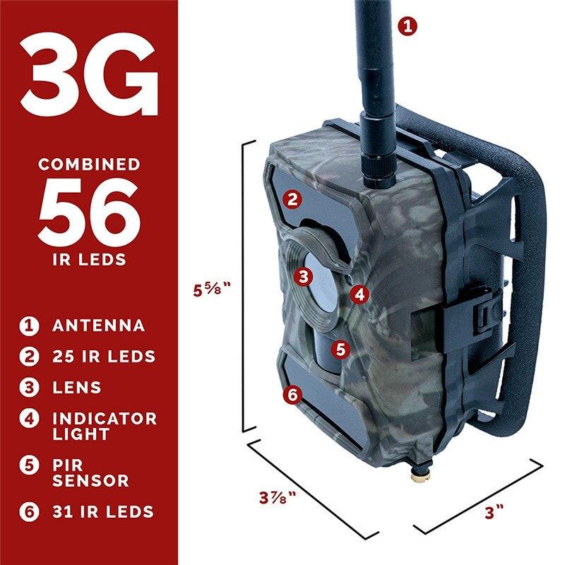 Willfine 3.0CG 3g Trail Caméras SMTP/SMS/MMS/GPRS Faune Scoutisme Caméra 3g Chasse Caméra avec APP contrôle 3g Forêt Caméras