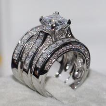 2018 najlepiej sprzedający się Hot luksusowa biżuteria 925 Sterling Silver wypełniony księżniczka Cut biały 5A cyrkonia 3 w 1 kobiet ślubne ring Set prezent tanie tanio Pierścionki Moda Zaręczyny Serce Wszystko kompatybilny Pave ustawianie Kobiety Koktajl pierścień vecalon TRENDY 10mm