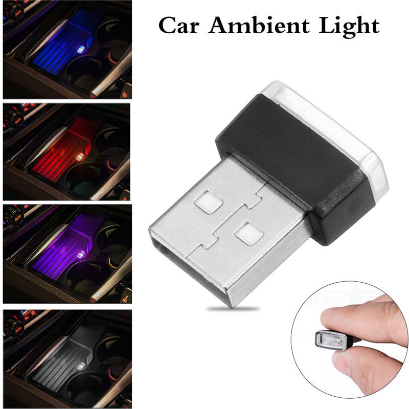 Car Atmosphere Lights 1pc Mini USB LED Car Interior Light Colorful Neon Atmosphere Ambient Lamp Red/Blue/White/Purple