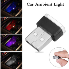 Car Atmosphere Lights 1pc Mini USB LED Interior Light Colorful Neon Ambient Lamp Red/Blue/White/Purple