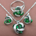 Classic Green   Zirconia For Women   925 Sterlig Silver Jewelry Sets Necklace Pendant Drop Earrings Rings Free Shipping TS005