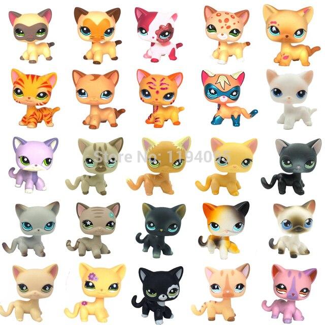 Raros lps pet shop brinquedos pé pequeno gato cabelo curto rosa #2291 cinza #5 preto #994 de idade originais brinquedos para animais de estimação gatinho frete grátis