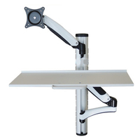 WS02 Wall Mount Foldable Ergonomic Gas Spring Sit Stand Monitor+Keyboard Holder Full Motion Arm 15 27Monitor Stand Bracket