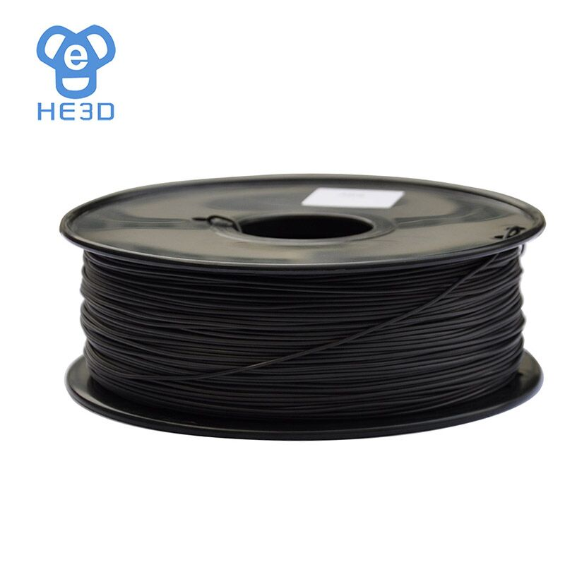 HE3D reprap 3D Printer Filament ABS Conductive 1.75 diameter 1Kg 2.2lb black color high quality 3D printing material new 3d printer printing filament abs 1 75mm 1kg for print reprap color gold yellow