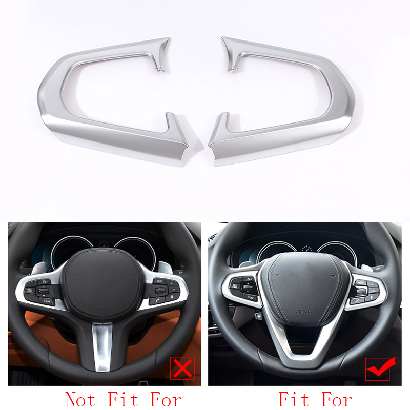 car accessories 2x Chrome ABS Steering Wheel Buttons Frame Cover Trim For BMW 5 Series G30 2017-2018 car accessories image