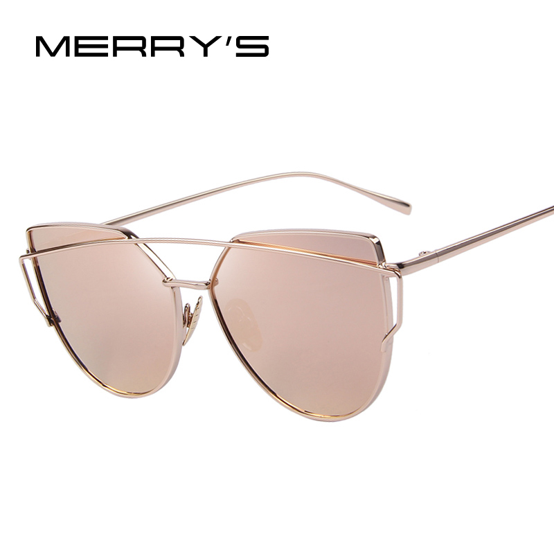 9940ad4c4e MERRYS Fashion Women Cat Eye Sunglasses Classic Brand Designer Twin-Beams  Sunglasses Coating Mirror Flat Panel Lens S7882