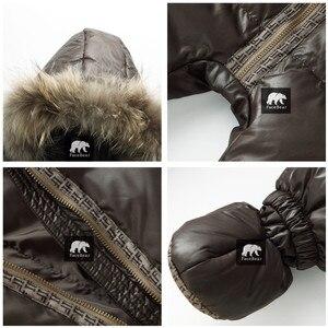 Image 3 - Top qualität winter marke jacke mode braun 9M  36M infant mantel 90% ente unten schnee tragen baby junge schneeanzug mit natur pelz haube