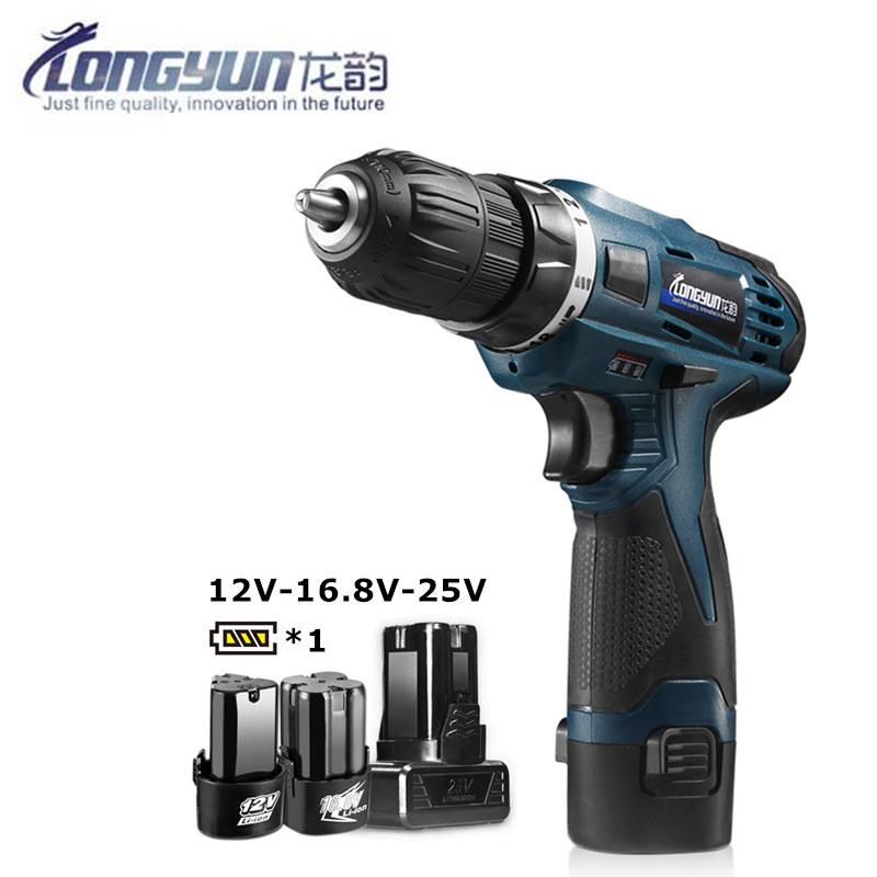 Longyun Rechargeable Lithium Battery cordless Electric Drill bit 12V 16.8V 25V Electric Screwdriver Torque screw gun power tools free shipping brand proskit upt 32007d frequency modulated electric screwdriver 2 electric screwdriver bit 900 1300rpm tools