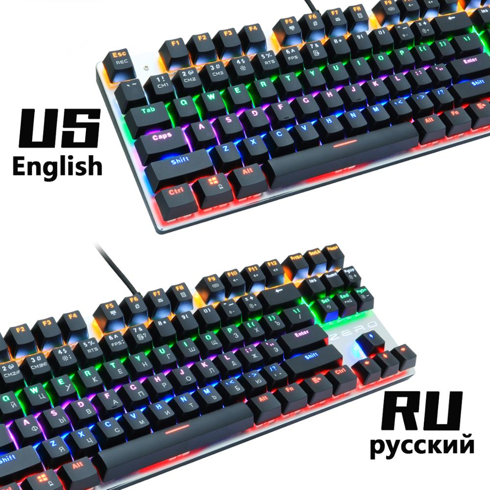 Metoo gaming Mechanical Keyboard Game Anti-ghosting Russian/US blue Black red switch Backlit Wired keyboard for pro gamer 2