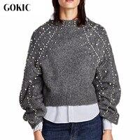 GOKIC New Pearl Beaded Elegant Sweater Women 2017 Lantern Sleeve Loose Knitted Sweaters Jumpers Vintage Gray