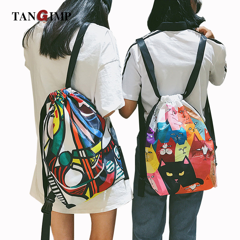 TANGIMP Funny Cat Dogs Backpacks Shoulder Big Oil Painting Cats Drawstring Backpacks Women Girls Beach PE Travel Shopping Bags free shipping plush tongue funny cat cat expression a birthday present love cats the gifts of men and women