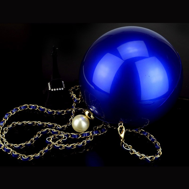 Pearl round bag chain ball party black blue pink gold purses and handbags bridal purse clutch perola white wedding bag XA1111A (3)
