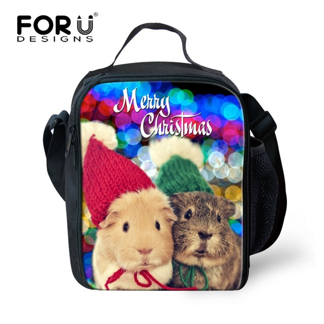 FORUDESIGNS Unique 3D Animals Christmas Gift Printing Lunch Bags Lunchbox for Kids Thermal Lunch Box Picnic Food Bag Insulated