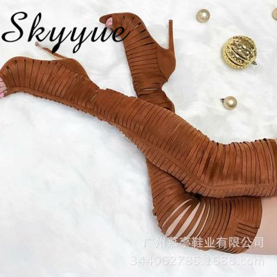 SKYYUE New Khaki Sexy Narrow Band Women Autumn Sandal Boots Open Toe Over The Knee HIgh Thigh High Boots Thin HIgh Heels hot boots women sexy black thigh high boots peep toe soft leather back zip high heels over the knee boots gladiator sandal boots