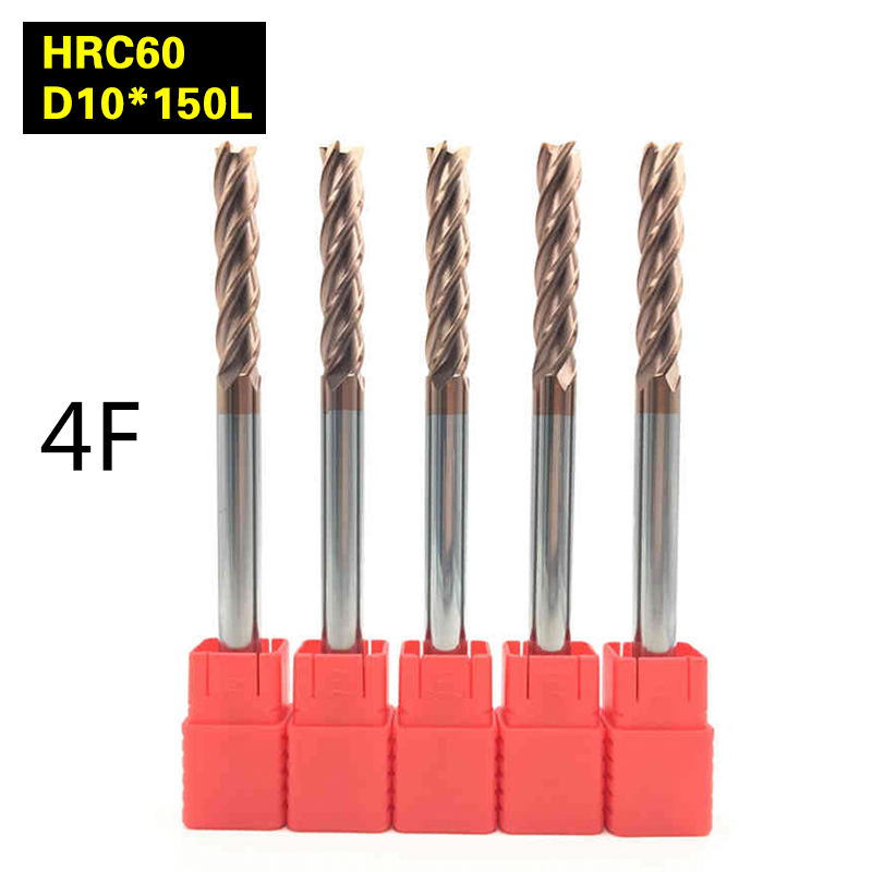 5Pcs 4F-D10*150L hrc60 carbide End Mills tungsten Carbide Square Flatted End Mill 4 Flute Cutting diameter 10mm Milling Cutter