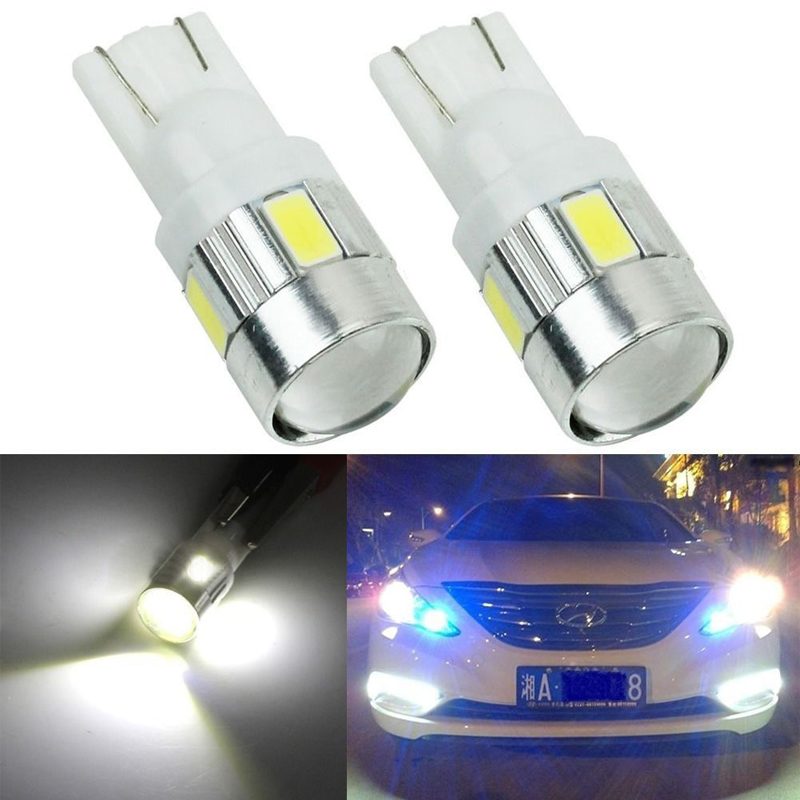 2pcs White Car Auto 6 LED 5630 SMD Wedge Side Brake Parking Light Bulb Lamp T10 168 W5W DC 12V car-styling hds090009 t20 9w 800lm 6 led red light car brake lamp silver white 2 pcs