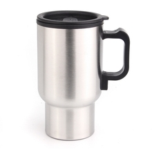 Hot! New Car auto Stainless Steel 12V Car Auto Adapter HEATED Travel MUG Thermos Heating Cup dmwd 750ml car heating cup auto 12v 24v stainless steel electric kettle travel heated coffee hot water boiling thermal heater