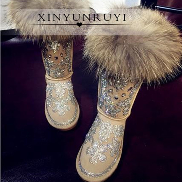 7f6804b0eed 2016 New Women Winter Snow Boots Mid-Calf Vintage Handmade Crystal Bling  Wool Leather Fox Fur One Slip-On Flat Shoes Platform