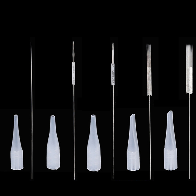 Tattoo Needles Tips RL 50Pcs Permanent Makeup Eyebrow Lip Microblading Round Needles Sterilized Tattoo nozzle Machine Kit Supply