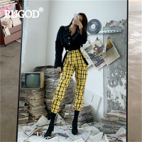 RUGOD Women pants plaid pleated high waist slim bib pants with strap harem pants 2019 new fashion female hip hop cool girl