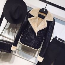 Outwear Coats Leather Jackets Long-Sleeve Wool Autumn Winter Womens New Thick And PU