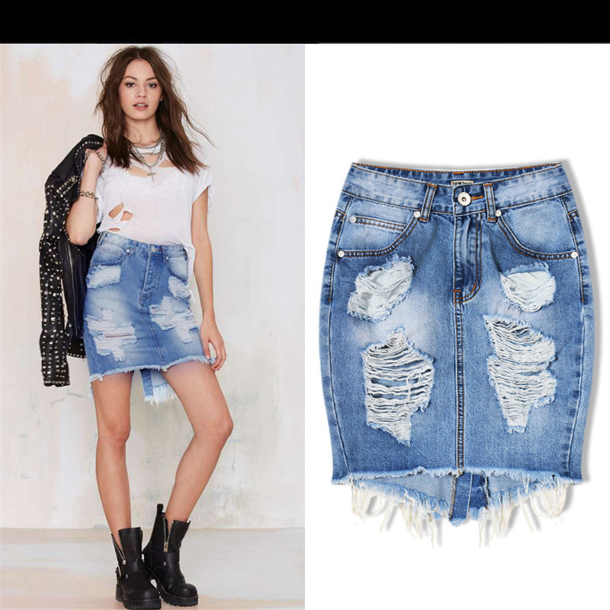 Mini Denim Skirt Women 2017 Summer Casual Split High Waist Short Jeans Skirt Sexy Pencil Skirts ...