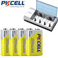 4 Pcs * PKCELL 250 Mah NIMH 6F22 9 V Bateria Recarregável com Carregador 1 Pcs 8182 9 V Bateria