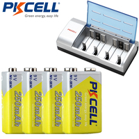 4Pcs*PKCELL 250Mah NIMH 6F22 9V Rechargeable Battery with 1Pcs 8182 9V Battery Charger