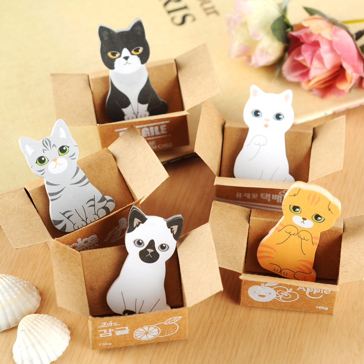 1 PCS Creative Cute Memo Pads Self-adhesive Carton Cat Small Scratch Pad Notes Sticker N Times Posted School Office Stationery