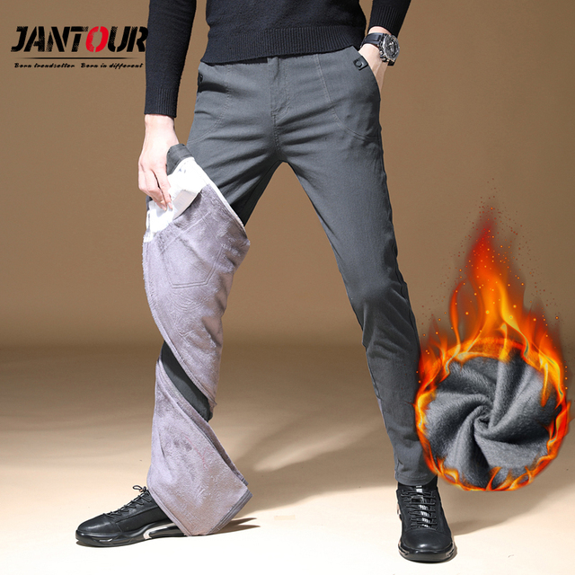 2019 Mens Winter Fleece warm Pants men Korean Casual Slacks Slim Warm thick Pants for men fashion Black gray Trousers male 43