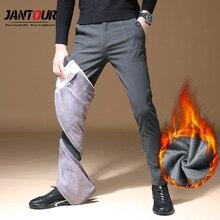 2020 Mens חורף צמר חם מכנסיים גברים קוריאני מקרית מכנסיים Slim חם עבה מכנסיים לגברים אופנה שחור אפור מכנסיים זכר
