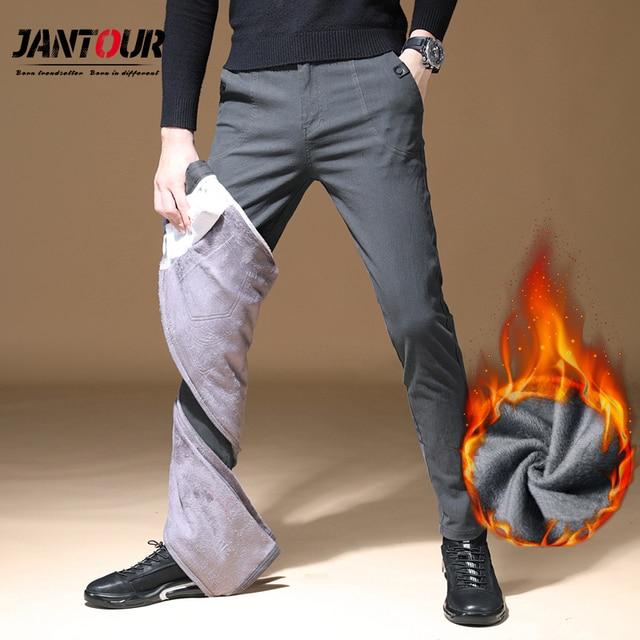 2020 Mens Winter Fleece warm Pants men Korean Casual Slacks Slim Warm thick Pants for men fashion Black gray Trousers male