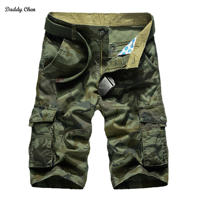 Military short pants Loose Cotton mens shorts camo summer plus size Pockets camouflage cargo shorts men army bermuda masculina
