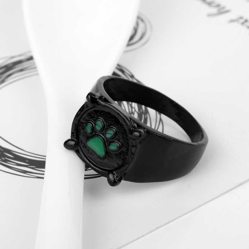 MQCHUN 2018 Ladybug Cat Noir แหวน Black Cat สีเขียว Paw พิมพ์แหวนสำหรับผู้ชายผู้หญิงคอสเพลย์ของขวัญเครื่องประดับการ์ตูนอะนิเมะ