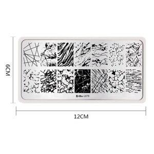 Image 2 - Harunouta Geometrische Gestreepte Line Nail Stempelen Platen Bloem Planten Kerst Marmer Cartoon Patroon Nagels Stempel Stencil Gereedschap