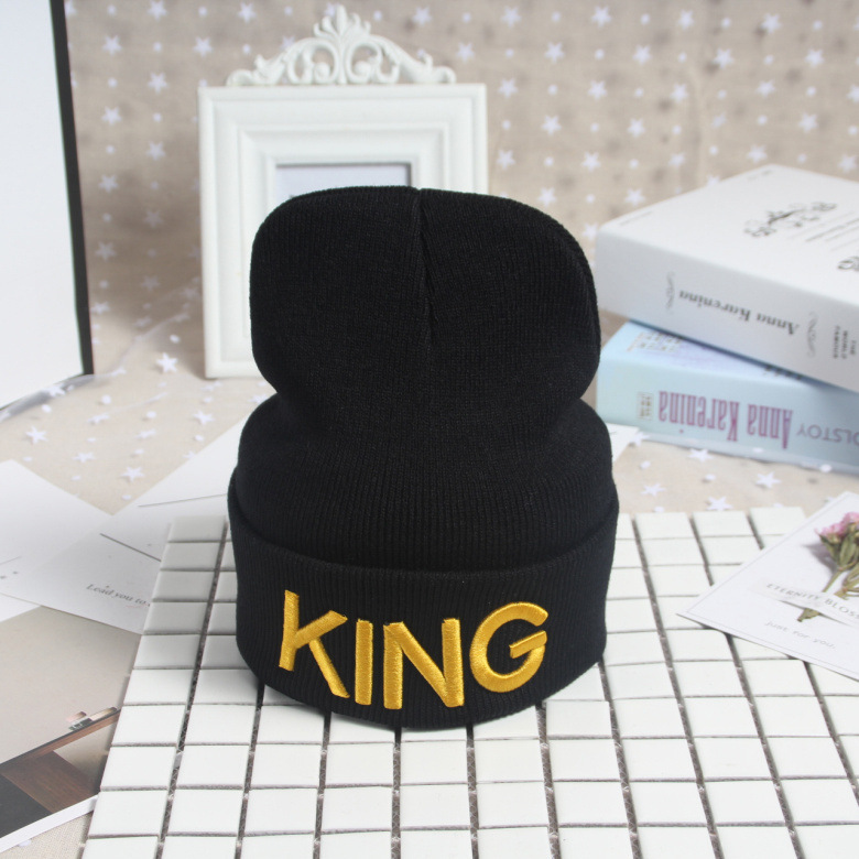 HTB1hif5XsrrK1Rjy1zeq6xalFXay - Beanies Cap KING QUEEN Letter Embroidery Warm Winter Hat Knitted Cap Hip Hop Men Women Lovers Street Dance Bonnet Skullies Black