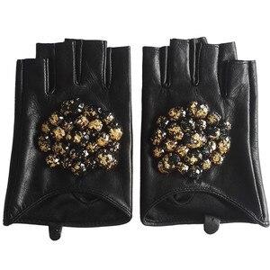 Image 3 - Gours Winter Genuine Leather Gloves Women Fashion Brand Black Stone Driving Fingerless Gloves Ladies Goatskin Mittens GSL040