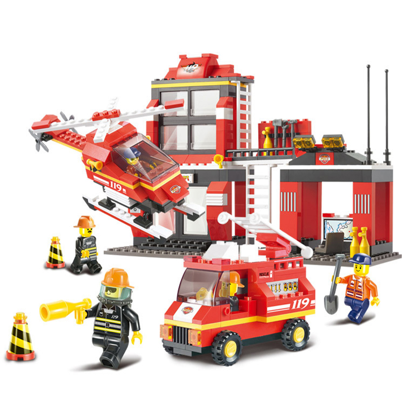 371pcs City Fire Station Building Blocks Sets Sluban 0225 DIY Model Toys Bricks Compatible With Lepin Firefighter Block Sets lepin 02012 city deepwater exploration vessel 60095 building blocks policeman toys children compatible with lego gift kid sets